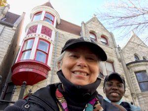 Rana And Lauren Raquel film in front of Ida B. Wells House